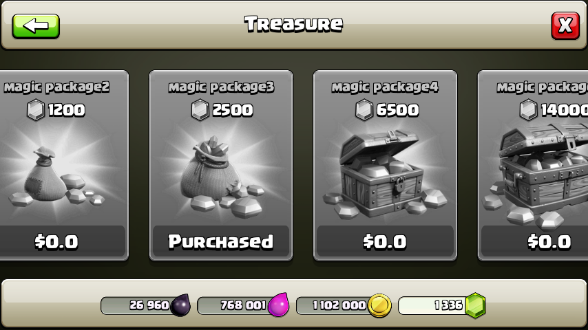 clash of clans gems pack purchased